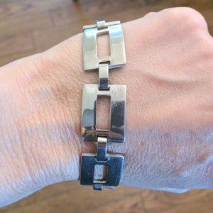 Sterling plated modernist link chain bracelet 925